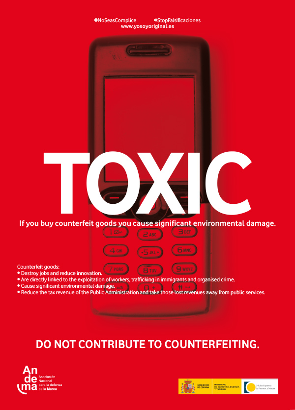 TOXIC: if you buy counterfeit goods you cause significant enviromental damage. Do not contribute to counterfeiting